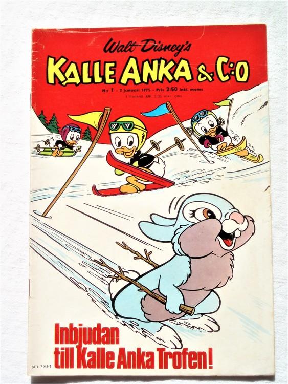 Kalle Anka&Co nr1 1975 mycket bra skick,adress etikett baksida