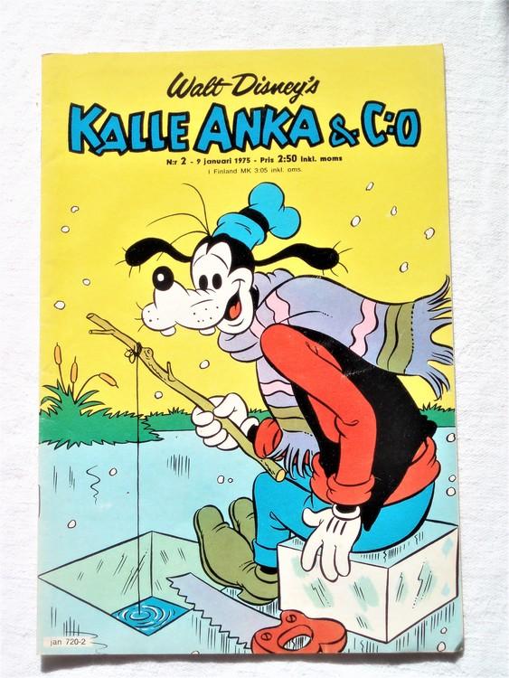 Kalle Anka&Co nr2 1975 mycket bra skick,adressetikett baksida