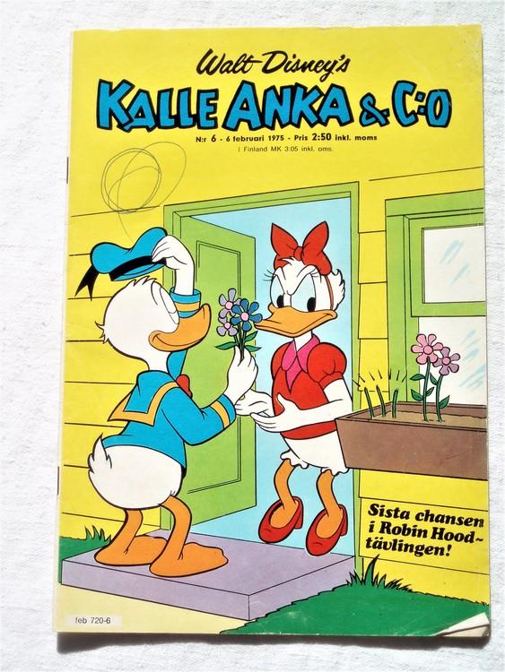 Kalle Anka&Co nr6 1975 mycket bra skick,adressetikett baksida