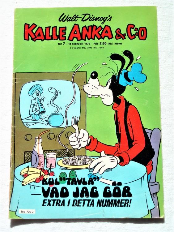 Kalle Anka&Co nr7 1975 mycket bra skick,adressetikett baksida