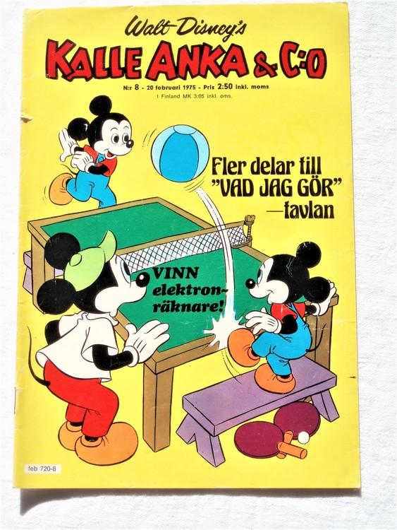 Kalle Anka&Co nr8 1975 mycket bra skick,adressetikett baksida