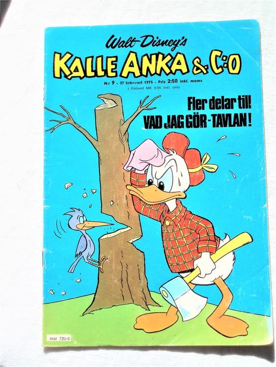 Kalle Anka&Co nr9 1975 mycket bra skick,adressetikett baksida