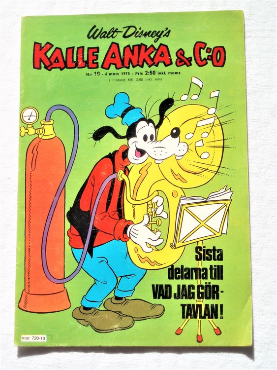 Kalle Anka&Co nr10 1975 mycket bra skick,adressetikett baksida