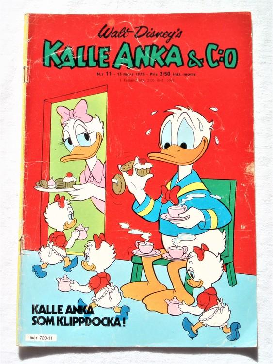 Kalle Anka&Co nr11 1975 mycket bra skick,adressetikett baksida.