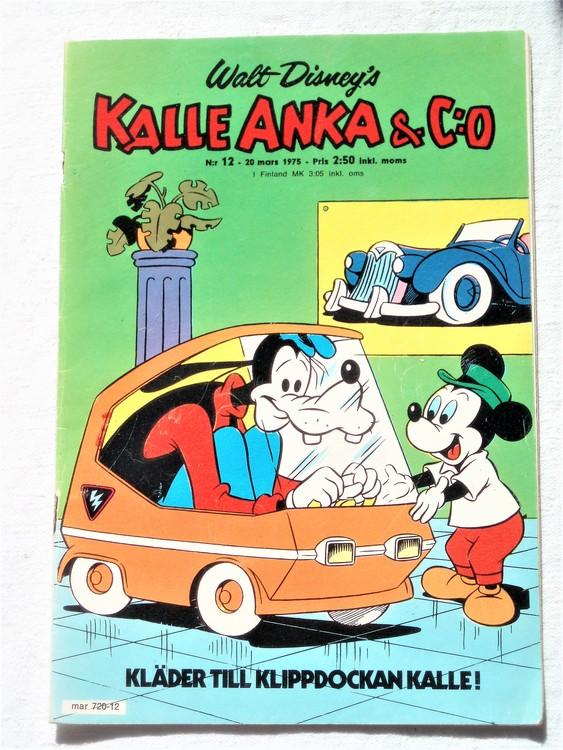 Kalle Anka&Co nr12 1975 mycket bra skick,adress etikett baksida