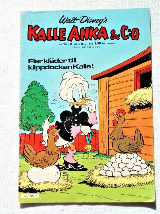 Kalle Anka&Co nr13 1975 mycket bra skick,adressetikett baksida