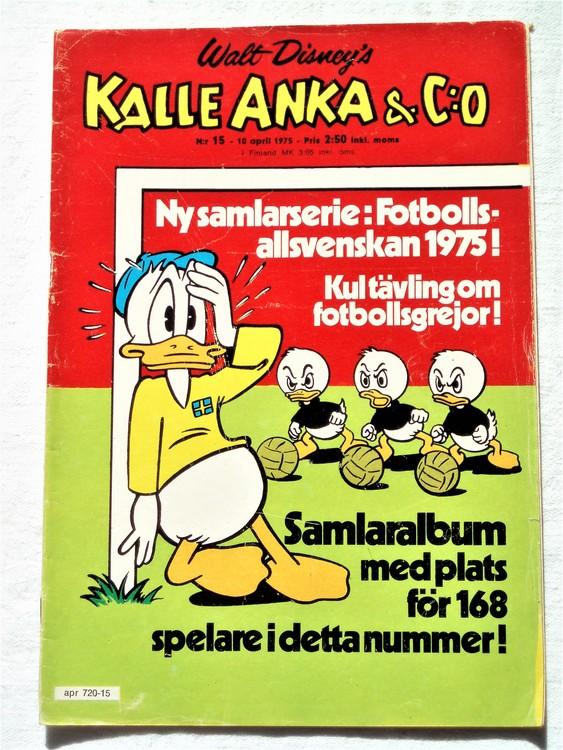 Kalle Anka&Co nr15 1975 mycket bra skick,adressetikett baksida
