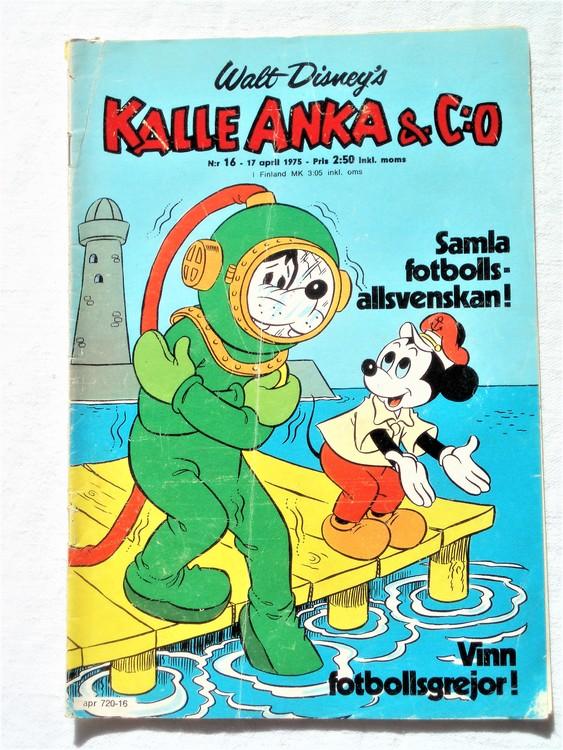 Kalle Anka&Co nr16 1975 mycket bra skick,adressetikett baksida