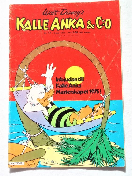 Kalle Anka&Co nr19 1975 mycket bra skick,med små defekter.