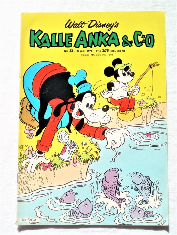 Kalle Anka&Co nr22 1975 mycket bra skick,med små defekter.