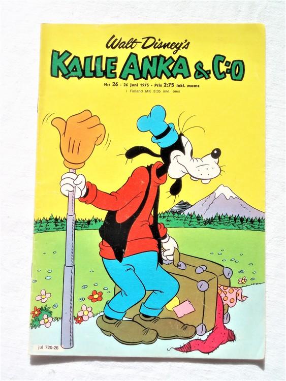 Kalle Anka&Co nr26 1975 mycket bra skick,med små defekter.