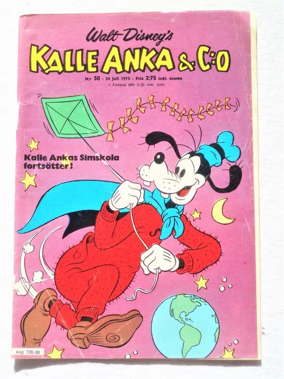 Kalle Anka&Co nr30 1975 mycket bra skick,med små defekter.