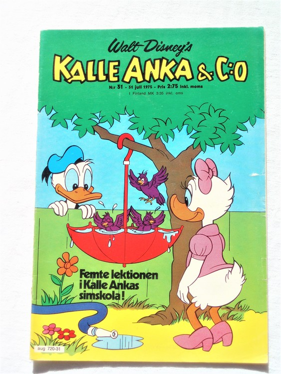 Kalle Anka&Co nr31 1975 mycket bra skick,med små defekter.