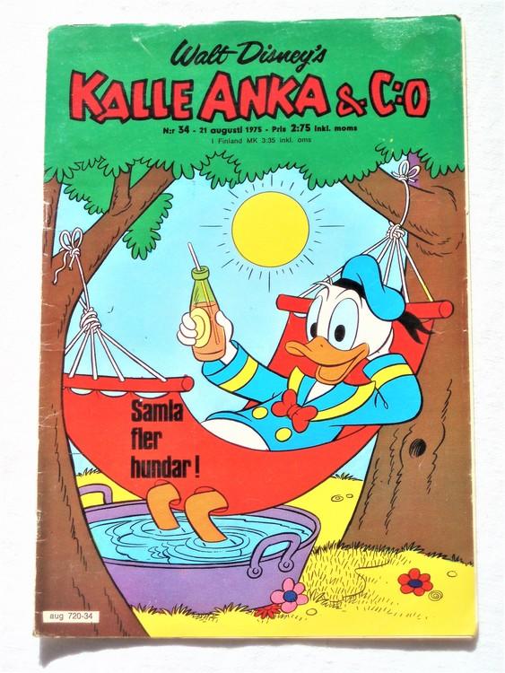 Kalle Anka&Co nr34 1975 mycket bra skick,med små defekter.