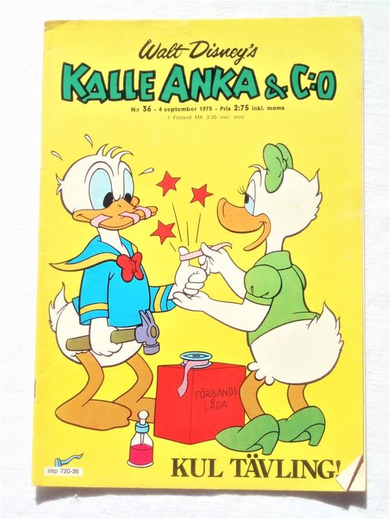 Kalle Anka&Co nr36 1975 mycket bra skick,med små defekter.