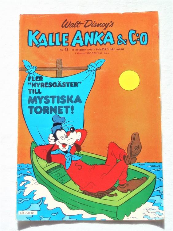 Kalle Anka&Co nr42 1975 mycket bra skick,med små defekter.