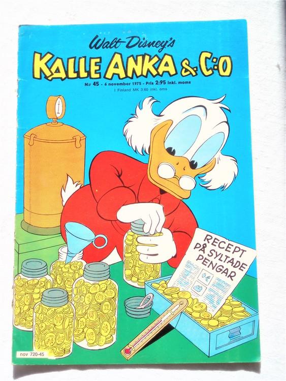 Kalle Anka&Co nr45 1975 mycket bra skick,med små defekter.