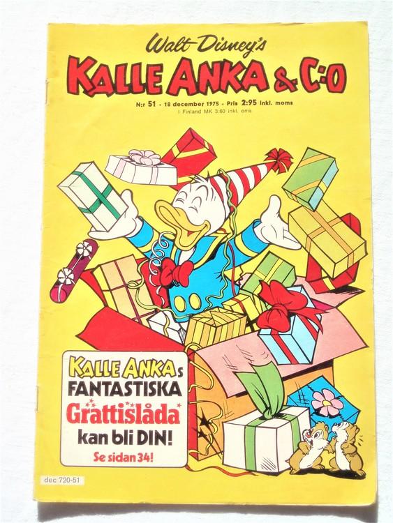 Kalle Anka&Co nr51 1975 mycket bra skick,med små defekter.