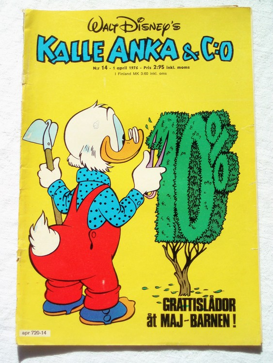Kalle Anka&Co nr14 1976 mycket bra skick,med små defekter.
