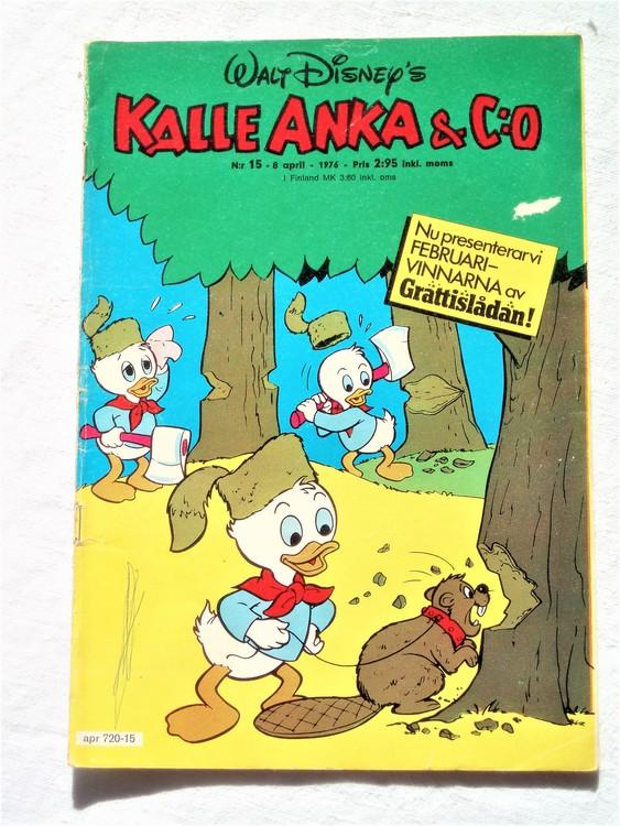Kalle Anka&Co nr15 1976 mycket bra skick,med små defekter.