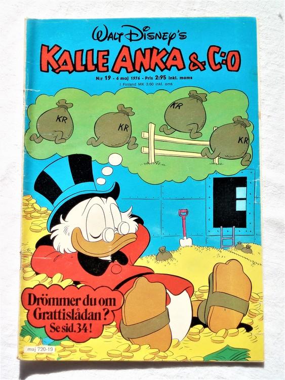 Kalle Anka&Co nr19 1976 mycket bra skick,med små defekter.