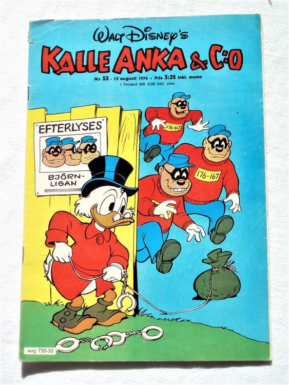 Kalle Anka&Co nr33 1976 mycket bra skick,med små defekter.