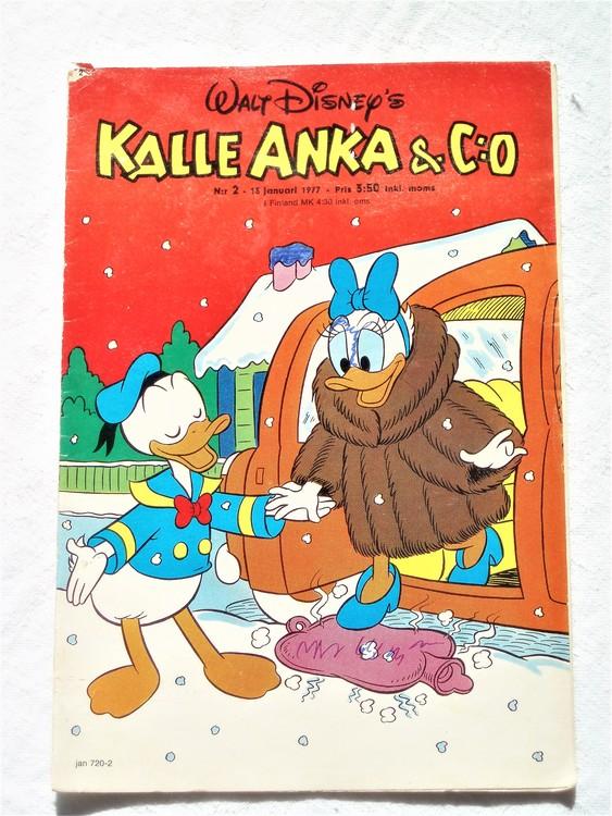 Kalle Anka&Co nr2 1977 mycket bra skick,adressetikett baksida.