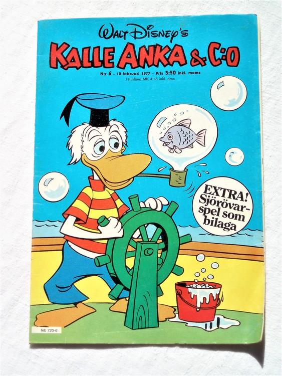 Kalle Anka&Co nr6 1977 mycket bra skick,adressetikett baksida.