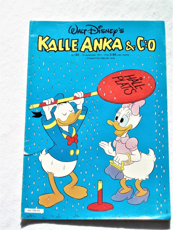 Kalle Anka&Co nr45 1977 mycket bra skick,adressetikett baksida.