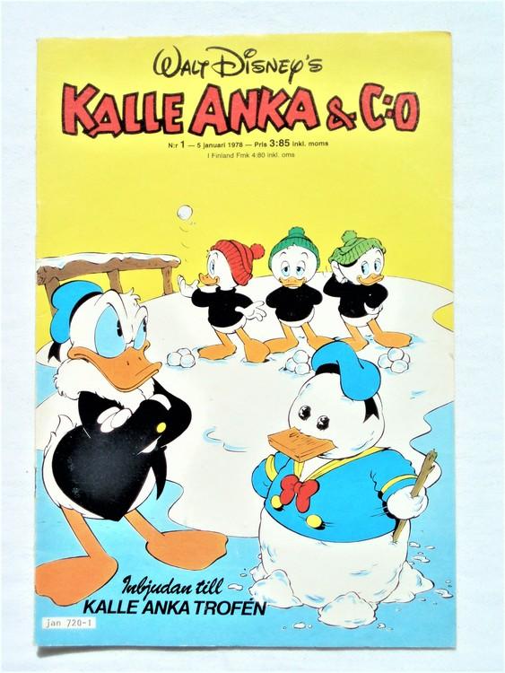 Kalle Anka&Co nr1 1978 mycket bra skick,adressetikett baksida.