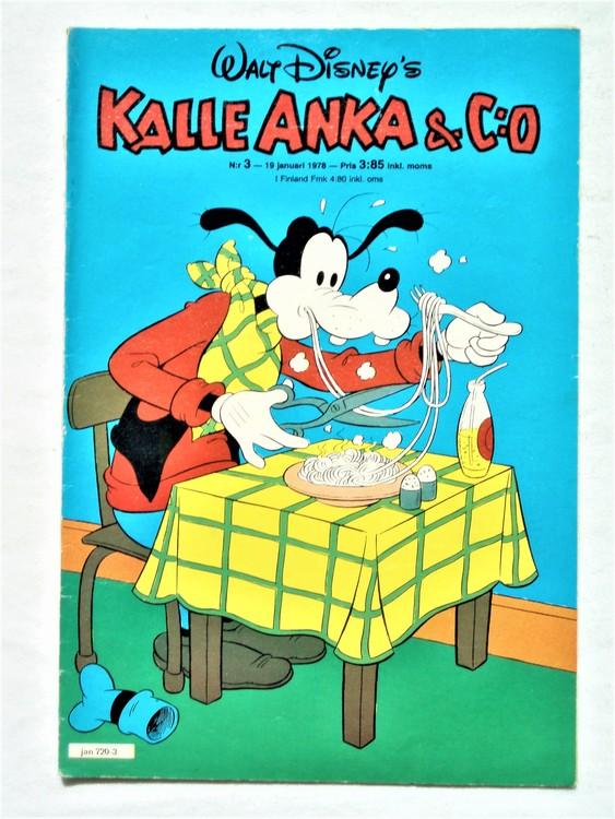 Kalle Anka&Co nr3 1978 mycket bra skick,adressetikett baksida.
