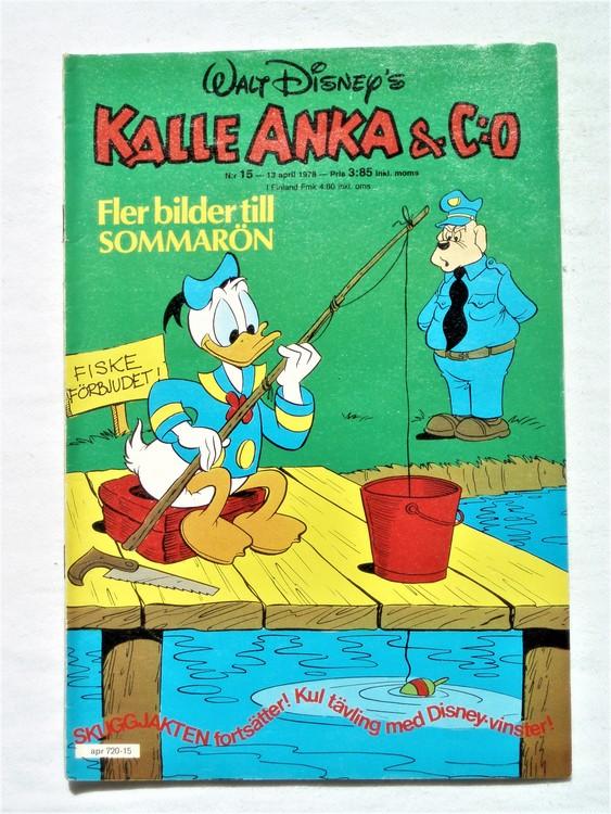 Kalle Anka&Co nr15 1978 mycket bra skick,adressetikett baksida.