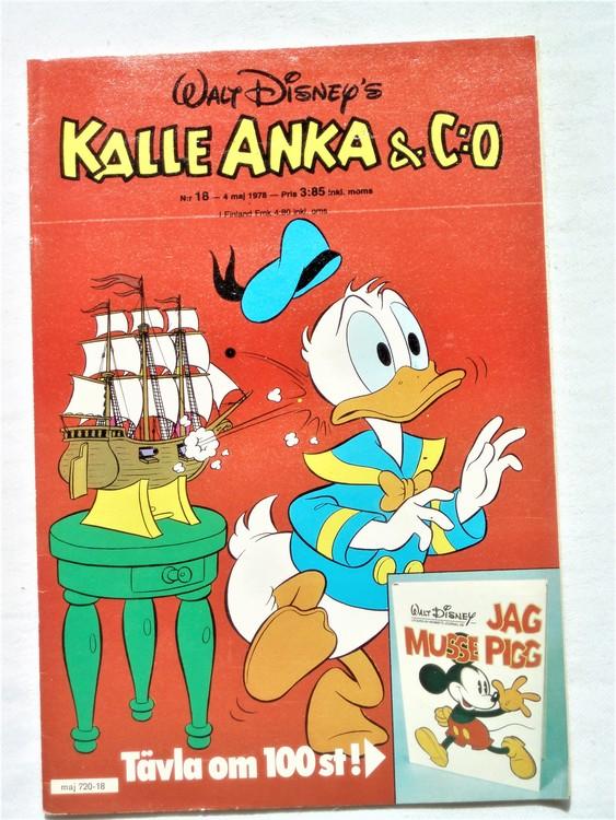 Kalle Anka&Co nr18 1978 mycket bra skick,adressetikett baksida.