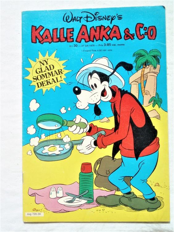 Kalle Anka&Co nr30 1978 mycket bra skick,adresstryck baksida.