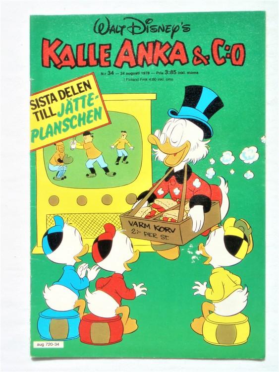 Kalle Anka&Co nr34 1978 mycket bra skick,adresstryck baksida.