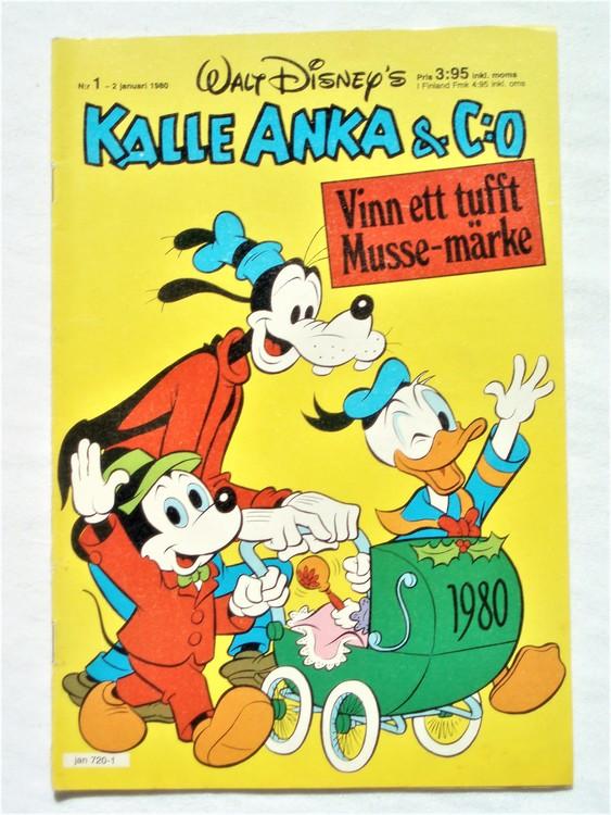 Kalle Anka&Co nr1,1980 mycket bra skick,ryggen sliten,lite småskador finns.
