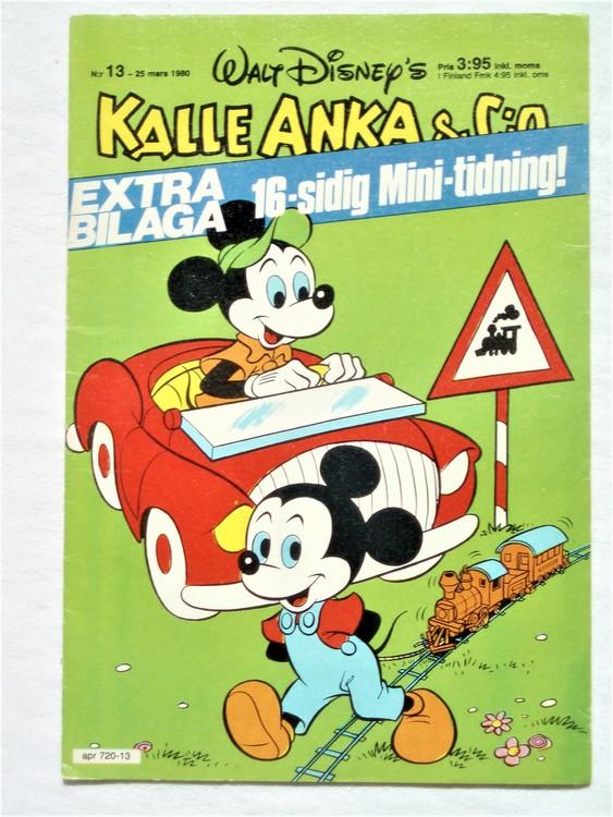 Kalle Anka&Co nr13,1980 mycket bra skick,ryggen sliten,lite småskador finns.