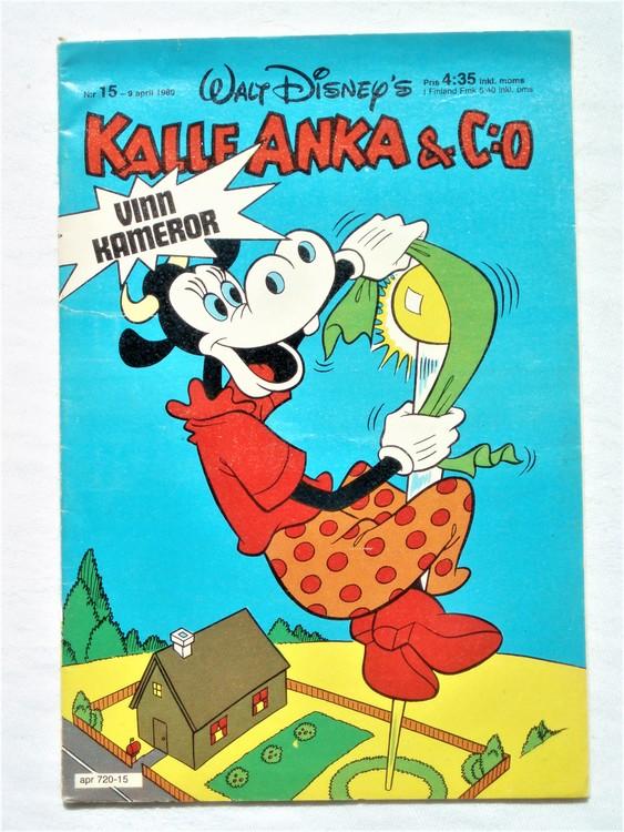 Kalle Anka&Co nr15,1980 mycket bra skick,ryggen sliten,lite småskador finns.