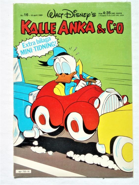 Kalle Anka&Co nr16,1980 mycket bra skick,ryggen sliten,lite småskador finns.