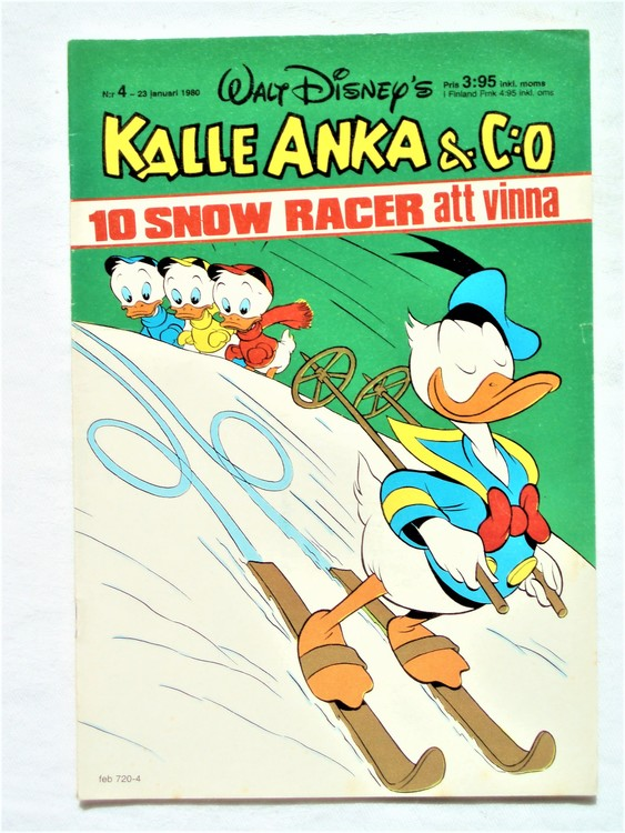 Kalle Anka&Co nr4,1980 mycket bra skick,ryggen sliten,lite småskador finns.