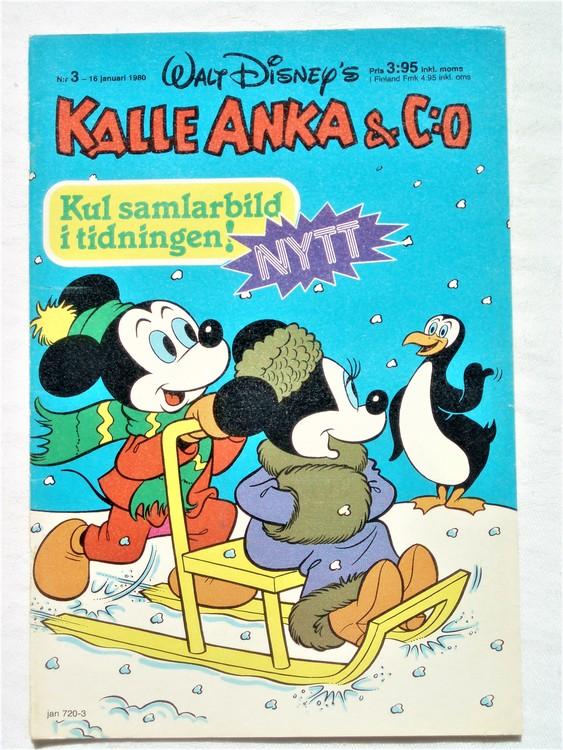 Kalle Anka&Co nr3,1980 mycket bra skick,ryggen sliten,lite småskador finns.