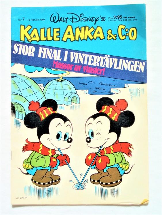 Kalle Anka&Co nr7,1980 mycket bra skick,ryggen sliten,lite småskador finns.