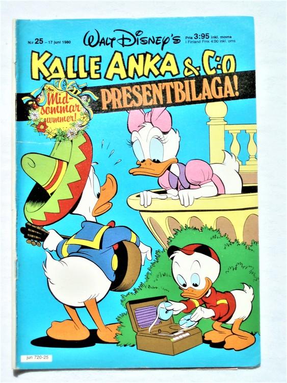 Kalle Anka&Co nr25,1980 mycket bra skick,ryggen sliten,lite småskador finns.