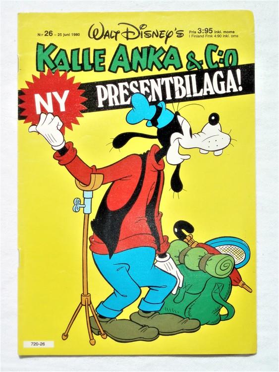 Kalle Anka&Co nr26,1980 mycket bra skick,ryggen sliten,lite småskador finns.