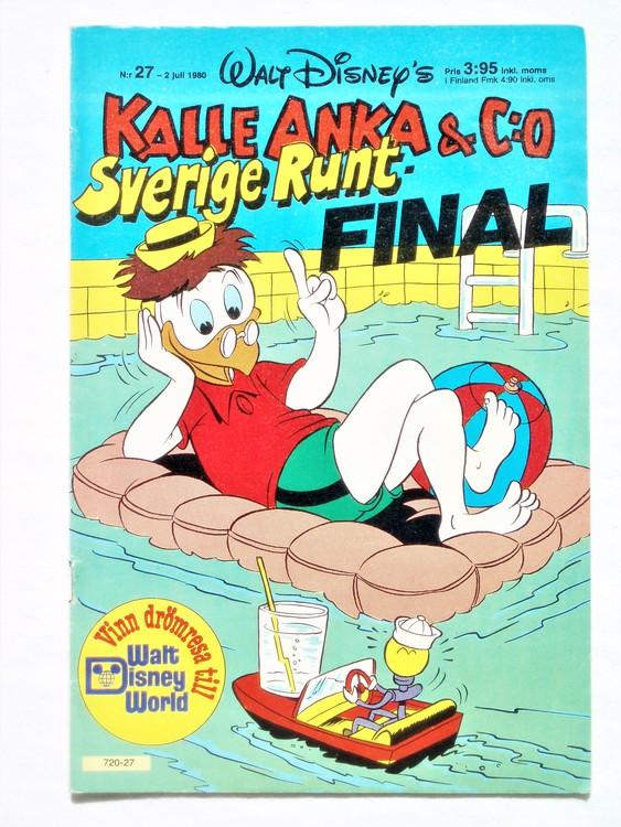 Kalle Anka&Co nr27,1980 mycket bra skick,ryggen sliten,lite småskador finns.