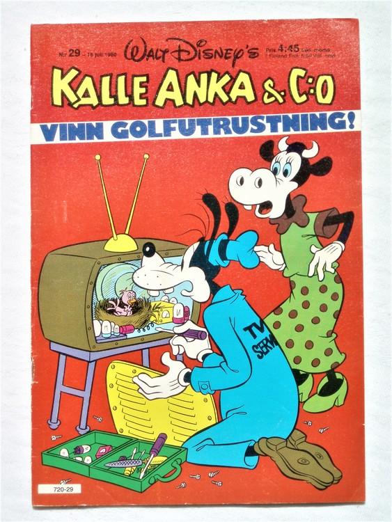 Kalle Anka&Co nr29,1980 mycket bra skick,ryggen sliten,lite småskador finns.