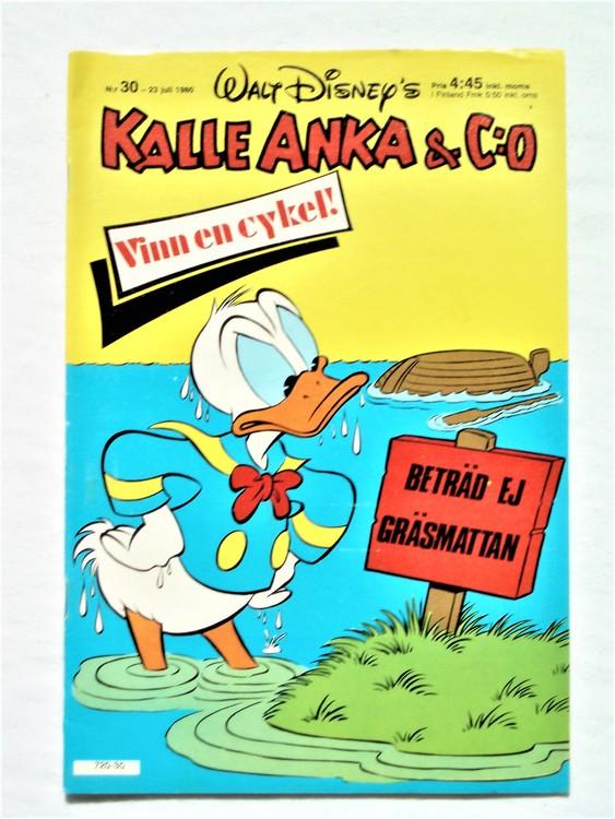 Kalle Anka&Co nr30,1980 mycket bra skick,ryggen sliten,lite småskador finns.