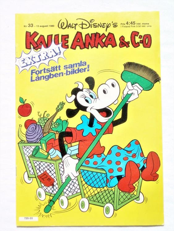 Kalle Anka&Co nr33,1980 mycket bra skick,ryggen sliten,lite småskador finns.