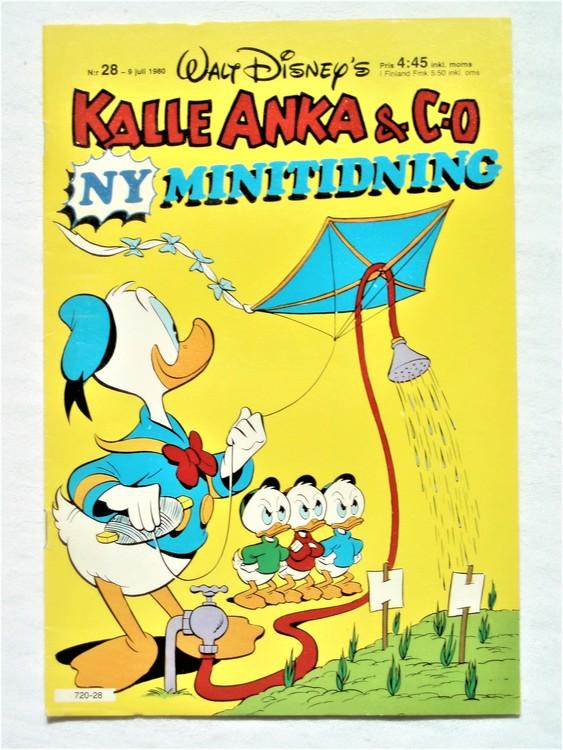 Kalle Anka&Co nr28,1980 mycket bra skick,ryggen sliten,lite småskador finns.