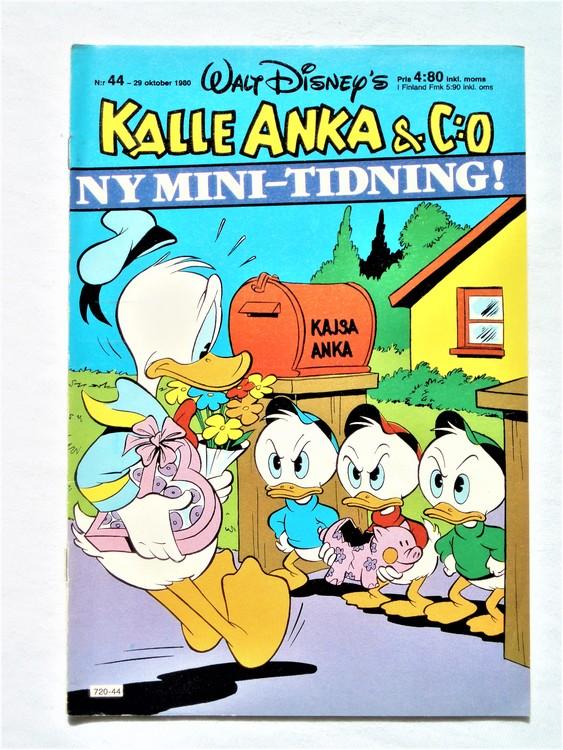 Kalle Anka&Co nr44,1980 mycket bra skick,ryggen sliten,lite småskador finns